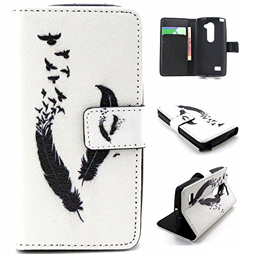 Click to buy LG Tribute 2 Case, Linkertech LG Leon Flip Wallet Case Black Flying Feather Black Flying Birds Kickstand Protective Case for LG Leon C40 / H340N / Tribute 2 / Power L22C / Destiny L21G / Sunset L33L - From only $249.99
