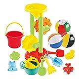Joyin Toy Sand Beach Toys Set with 1 Double Sand Wheel, 4 Kinetic Sand Molds, 3 12-inch Beach Balls, Bucket, Shovel and Rake