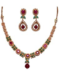 Gehna Pearl Ruby & Emerald Stone Studded Necklace & Earrings Set