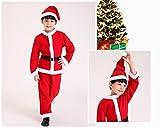 ベビーサンタ 子供用 男の子 4点セット クリスマス サンタクロース コスプレ 衣装 帽子 ベルト 付き (100)