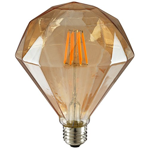 Sunlite FDIAM/LED/AQ/6W/DIM/22K Vintage BR40 Diamond 6W LED Antique Filament Style Light Bulb 2200K Medium E26 Base 65W Incandescent Replacement Lamp, Warm White