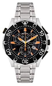 Rotary Men's Swiss Made Quartz Watch with Black Dial Analogue Display and Silver Stainless Steel Bracelet AGB90036/C/04
