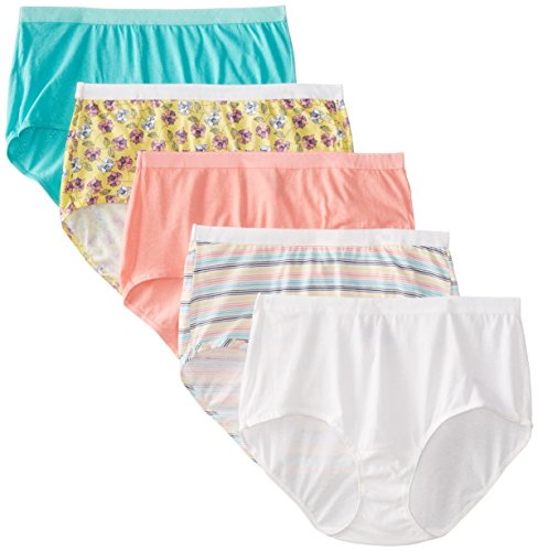 """Fruit of the Loom Women's Plus Size """"Fit For Me"""" 5 Pack Assorted Cotton Brief Panties"""