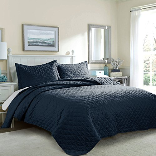 Bedsure Solid Patterned Quilt Set with Shams - Hypoallergenic and Lightweight Solid D, Navy Twin (Twin Quilted Coverlet compare prices)