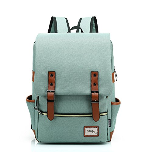 orota Vintage College Backpack School Bookbag Canvas Laptop Backpack rucksacks 3