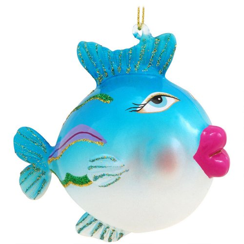 Blue Fish With Big Lips Glass Ornament