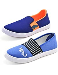 Aircum COMBO Pack Of 2 Pair Of Loafer Shoes (Blue & Orange)