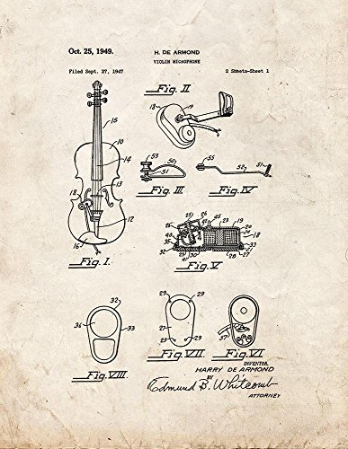 "Violin Microphone Patent Art Old Look Print (16"" X 20"")"