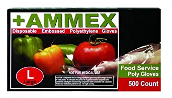 Ammex PGLOVE-500 Food Service Poly Glove, Latex Free, Disposable, Powder Free, Small (Case of 2000)