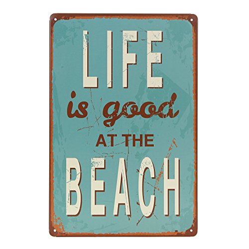 Uniquelover Life Is Good At Beach Retro Vintage Tin Sign 12