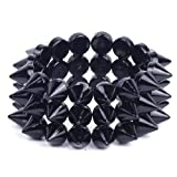 Orien 1pc Unisex Black Rock Punk Gothic 3 Rows Spike Hedgehog Rivets Bracelet Chunky Bangle Jewellery