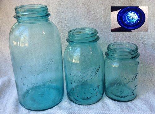 Early 1900's Ball Blue Perfect Mason Jar Set Half Gallon, Quart and Pint with Free Blue Medicine Jar (Half Gallon Canning Jars compare prices)