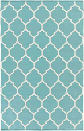 Teal Rug Modern Chic Trellis Design 2-Foot x 3-Foot Cotton Flat-Woven Lattice Dhurry