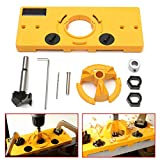 TTbuy 35Mm Hardnesscup Style Hinge Jig Boring Door Hole Locator Drill Guide And Strength Bit Wood Cutter Carpenter Woodworking Diy Tools for Wood, Doors and Windows et, Easy-Use (Yellow) (Color: Yellow)
