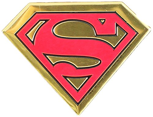 DC Comics Originals Superman Logo On Embossed Metal Emblem Sticker, Yellow, 6cm - 1