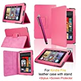 SAVFY� Kindle Fire Leather Case Cover Multi-Function Flip Stand Wallet Book, Includes FREE Bonus Gift: Capacitive Stylus Pen, Screen Protector and Polishing Cloth for Amazon Kindle Fire 7 LCD Display Wi-Fi 8GB Android Tablet - 2011 Model (Flip, Pink)by SAVFY