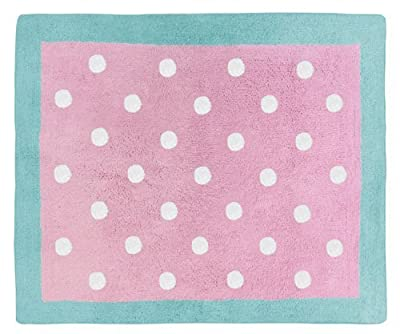 Sweet Jojo Designs Turquoise and Pink polka Dot Skylar Girls Accent Floor Rug