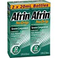 Afrin No Drip 12-Hour Pump Mist, Severe Congestion - 2 pumps each 2 / 3 oz - Total 1.33 oz