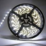 SatisLight 製品 LEDテープ5m 12V用 300SMD & 600SMD  選べる6色 ベース色は2タイプ(白&黒) (300SMD(黒ベース), ホワイト)