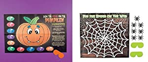 2 Cool HALLOWEEN Party Games - PIN the SPIDER on the WEB & PIN the NOSE on the PUMPKIN/JACK O'Lantern KIDS Children's Activity/CLASSROOM/SCHOOL/Daycare