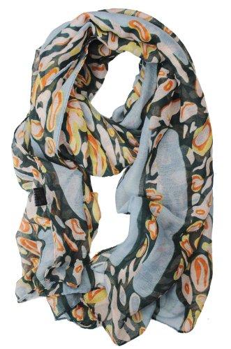 Liuanantm Women Leopard Chiffon Soft Shawl Voile Animal Print Wrap Long Scarf (Grey (S174 #2))