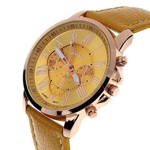 Sanysis Women'S Roman Numerals Faux Leather Analog Quartz Wrist Watch(Yellow)