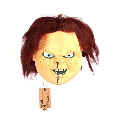 Full Face Cosplay Creepy Scary CHUCKY latex Mask Horror Masquerade Adult Ghost Movie Mask Halloween Props Costumes Fancy (Collection Halloween Movie Scary Village)