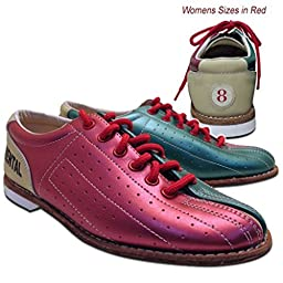 Bowlerstore Womens Classic Elite Rental Bowling Shoes (5 M US, Red/Teal/Tan)