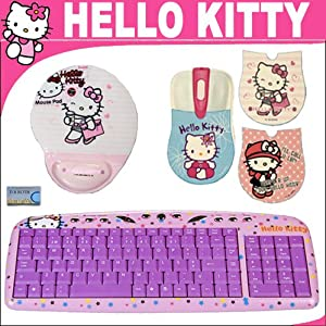 hello kitty computer keyboard hello kitty optical mouse with 3 changing faceplates. Black Bedroom Furniture Sets. Home Design Ideas
