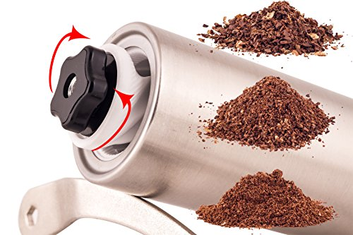 Manual Coffee Grinder Mill Roasting for Coffee Beans - Great Turkish Coffee & Espresso Hand Coffee Maker - Made From Stainless Steel & Ceramic Burr - French Press Style & Aeropress Compatible