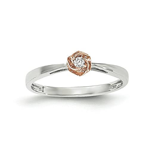 14ct White and Rose Gold Polished Diamond Ring