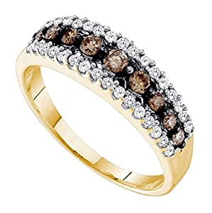 0.5 cttw 10k Yellow Gold Cognac Brown Diamond Wedding Band Anniversary Ring, 6mm Size 4-11 ((L1100) Womens Size 11)