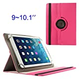 Dulcii 360 Degree Rotary Twill Leather Stand Shell for iPad / Samsung Tab 10.1 / Sony Xperia Tablet Z 9-10 inch Tablet PC (Rose)