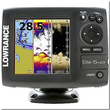 Lowrance ELITE-5 HDI :: 83 /200 Khz Transducer :> Wide Beam Sonar