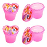 Set of 4 Plastic Disney Snack Containers, Mini Snack Containers with Lids (PRINCESS)