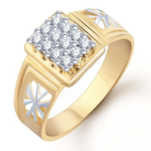 Sukkhi Gold and Rhodium Plated CZ Ring for Men(102GRK510) (yellow)