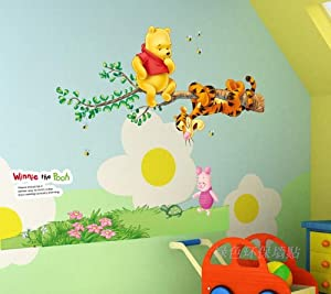 Winnie The Pooh and Tigger hanging from branch - Removable Wall Stickers