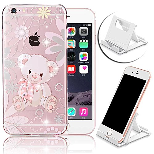 Vandot trasparente TPU Silicone Cover per iPhone 6 6S 4.7 pollici Custodia Morbida Bing Shinning Strass Diamante Case Ultra Thin Sottile Slim Diamond Cover + Supporto di Telefono portable-ours