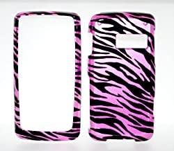 Hot Pink Zebra Strips Snap on Hard Skin Shell Protector Cover Case for Lg Rumor Touch Ln510 + Microfiber Pouch Bag