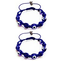 2 Pc Evil Eye Crystal Rhinestones Disco Balls Bead Shamballa Friendship Bracelet