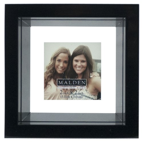 Malden Smartphone Collection Black Picture Frame, Abstract Floater Cube, 4 by 4-Inch