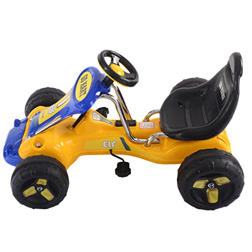 go kart kids ride on car pedal powered car 4 wheel racer toy stealth outdoor new yellow