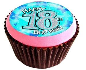 12x18TH BIRTHDAY BLUE 38mm (1.5 Inch) PRE-CUT Cake ...