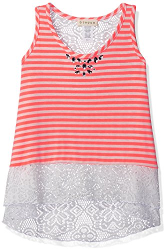 BTween Girls' Striped Tank with Crochet Back and Jeweled Neck, Neon Coral/Ivory, 7