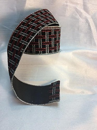Christmas Platter Black,Red And Silver 2.5 Inch X 10 Yard Roll of Ribbon