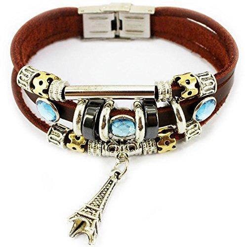 S.S®(SportSpirit) Eiffel Tower,La Tour Eiffel Pendant and Blue Synthetic Crystal Bracelet Wristband for Men/women/teen/boys/girls/unisex-18CM