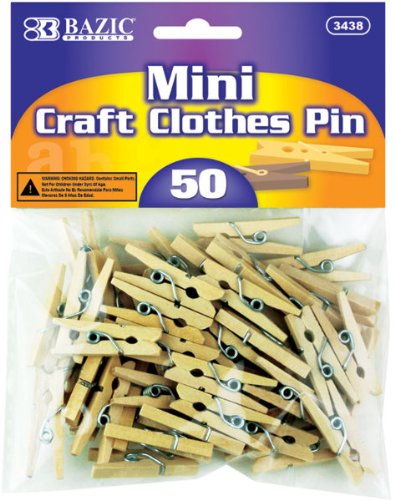 Bazic mini natural clothespins 50 pack 288 pieces for Mini clothespin craft ideas