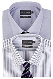 2 Pack 2in Longer Easy Care Classic Collar Shirts with Tie [T11-2270L-S]