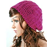 Winter Lady Women Baggy Beret Chunky Knit Knitted Braided Beanie Hat Ski Cap Rose Red