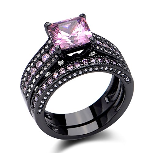 Newshe Jewellery 3.5 Ct Black Wedding Ring Set Princess Cut Created Pink Sapphire Size 7